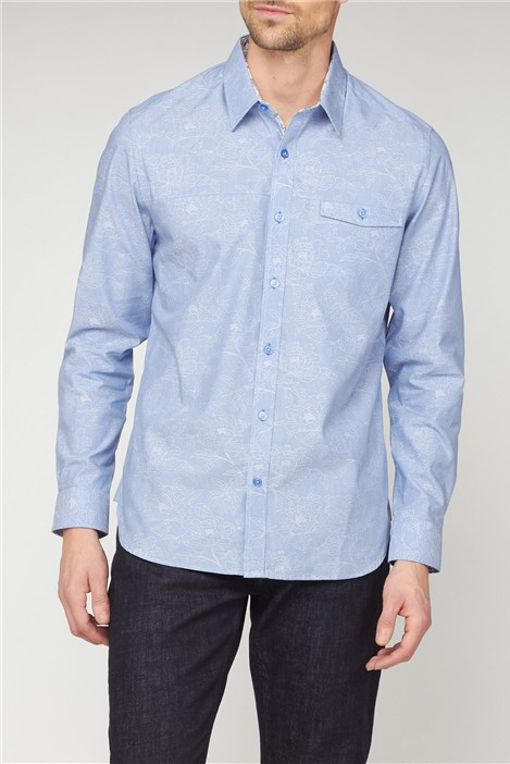 Jeff Banks Casual Light Blue Stripe Floral Jacquard Shirt