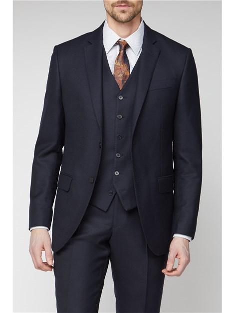 Jeff Banks Navy Jacquard Texture Regular Fit Soho Suit