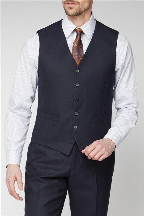Jeff Banks Navy Jacquard Texture Soho Regular Fit Waistcoat