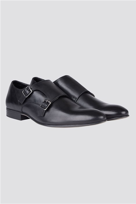 Limehaus Black Monk Strap Shoes