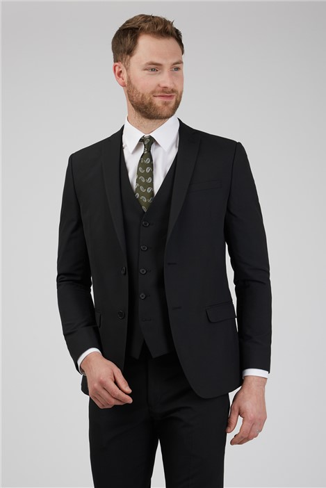 Limehaus Black Plain Slim Fit Suit