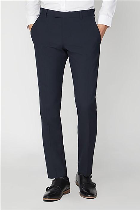 Limehaus Plain Navy Slim Fit Suit Trousers