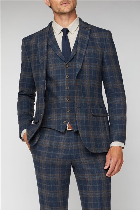Racing Green Navy Tan Check Slim Fit Jacket