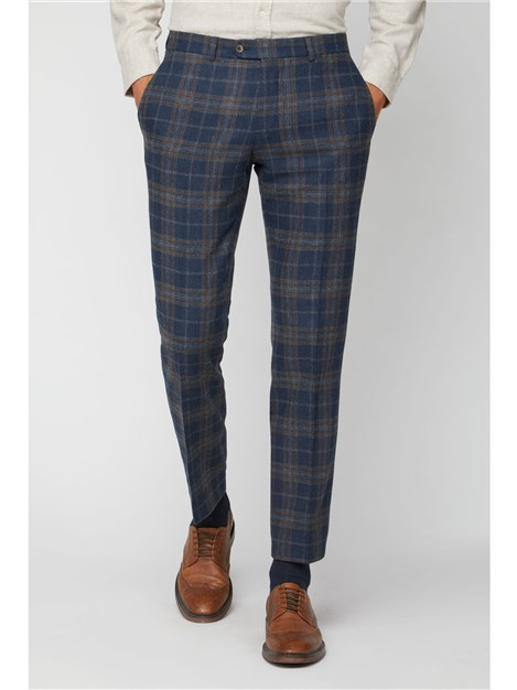 Racing Green Navy Tan Check Slim Fit Trousers