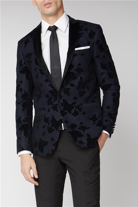 Limehaus Navy Rose Slim Blazer