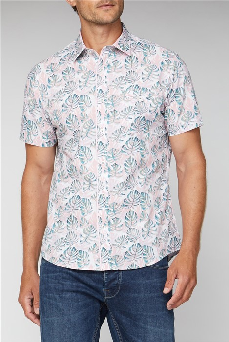 Jeff Banks Stvdio Casual Pink Painted Palms Print Shirt