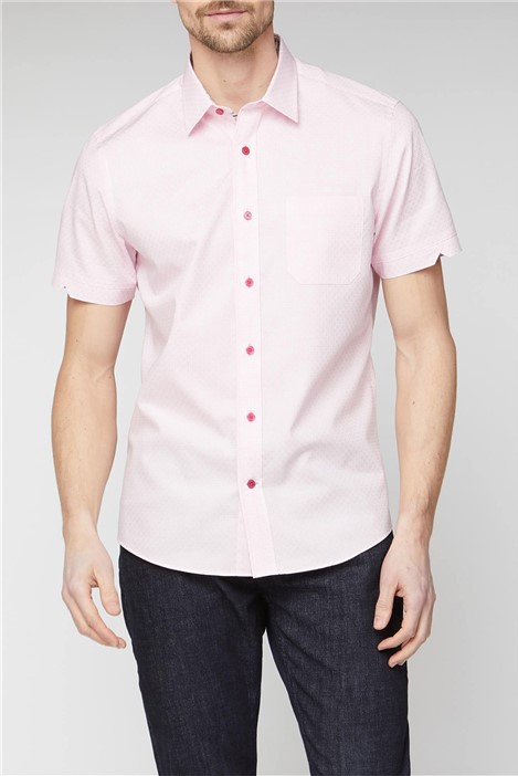 Jeff Banks Stvdio Casual Pink Weave Check Shirt