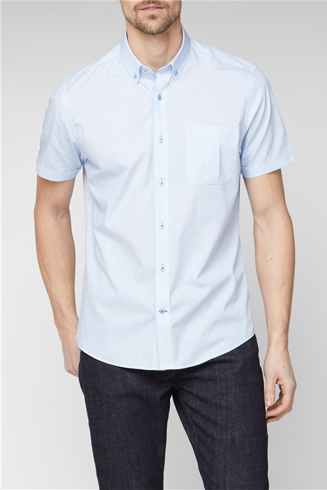 Jeff Banks Stvdio Causal Light Blue Square Print Shirt
