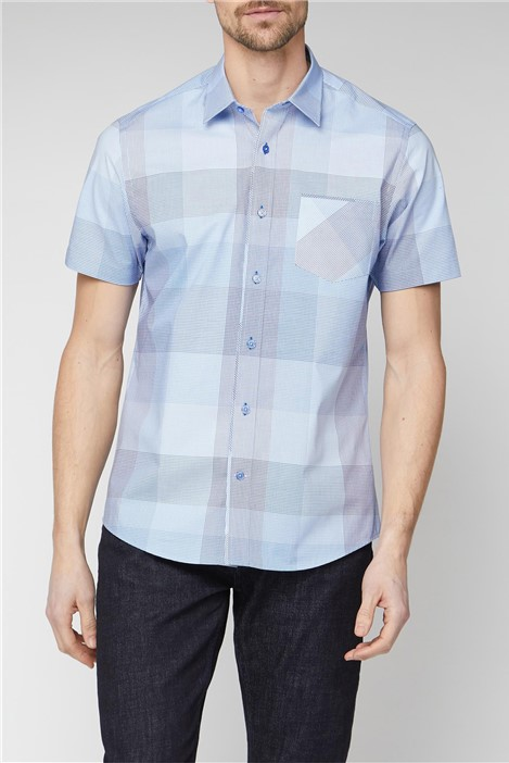 Jeff Banks Stvdio Casual Light Blue Large Check Shirt