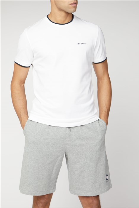 Ben Sherman White Pique T-shirt with Tipping
