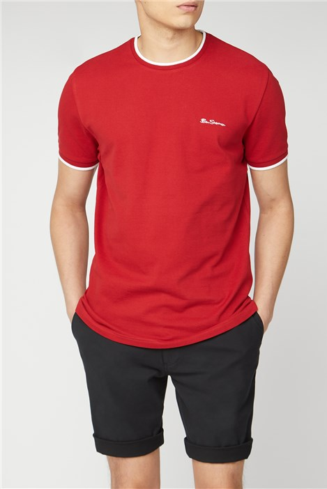 Ben Sherman Red Pique T-shirt with Tipping