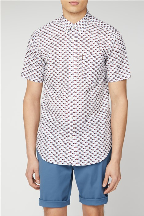 Ben Sherman White Short Sleeve Flag Shirt