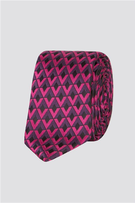 Jeff Banks Brit Magenta Tile Mens Tie
