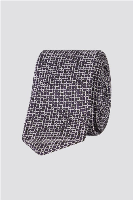 Jeff Banks Brit Purple Deco Grid Tie