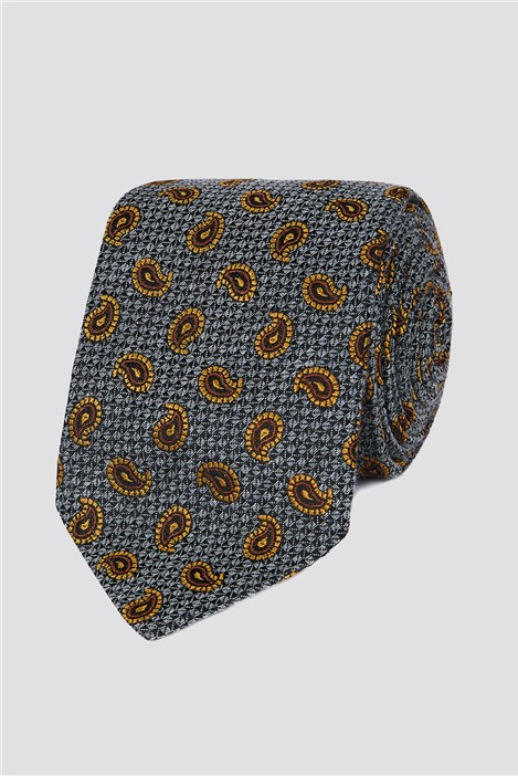Jeff Banks Outlet Jeff Banks London Grey Textured Paisley Tie