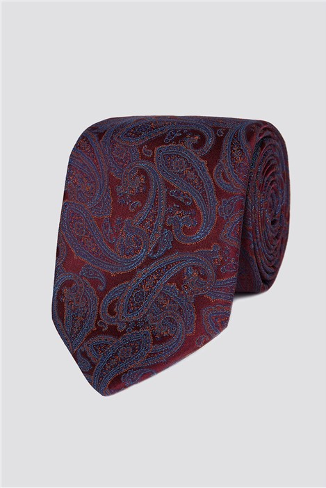 Jeff Banks London Wine Intricate Paisley Tie