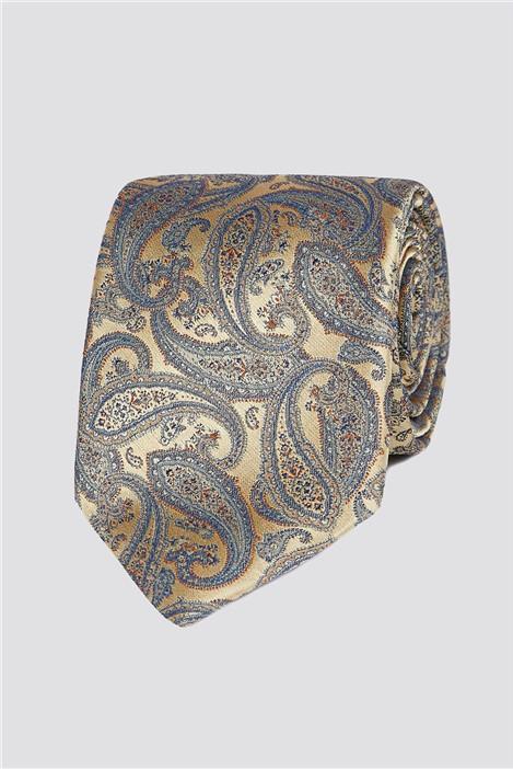 Jeff Banks London Gold Intricate Paisley Tie