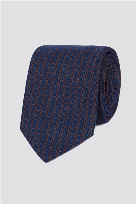 Jeff Banks Burnt Orange Honeycomb Tie