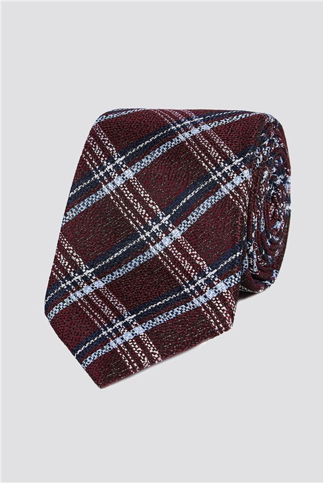 Stvdio Wine Textured Check Tie