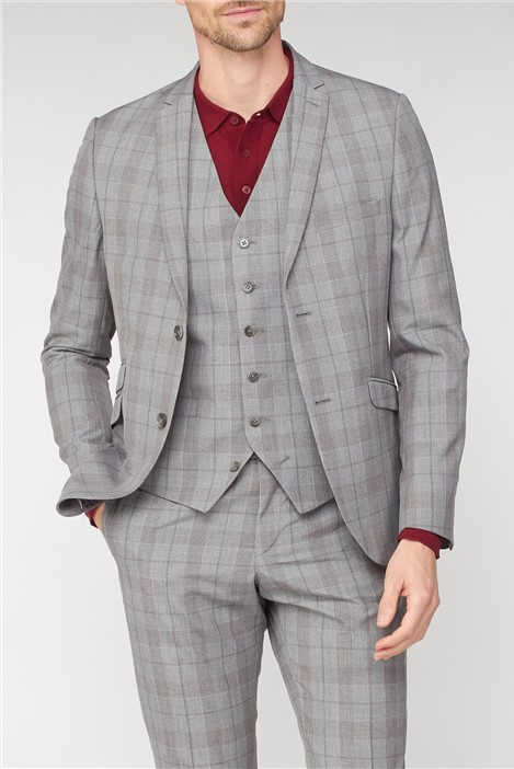 Jeff Banks Studio Grey with Red Check Brit Super Slim Fit Suit
