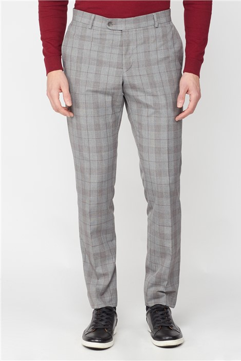 Jeff Banks Studio Grey with Red Check Brit Super Slim Fit Suit Trousers