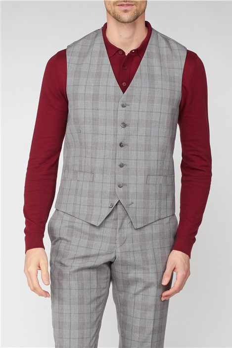 Jeff Banks Studio Grey with Red Check Brit Super Slim Fit Waistcoat