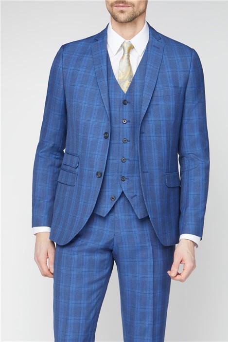 Jeff Banks Stvdio Blue Summer Check Brit Super Slim Suit