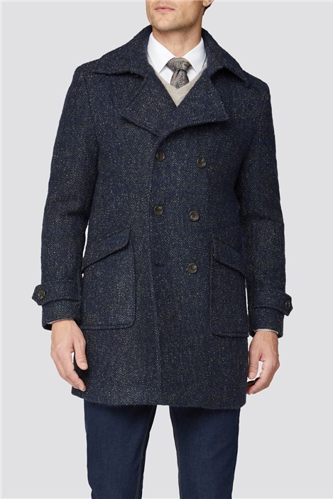 Jeff Banks Double Breasted Donegal Pea Coat