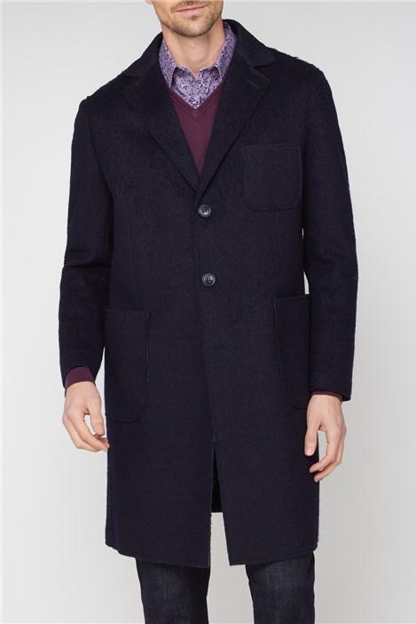 Jeff Banks Navy Raw Single Breasted Overcoat