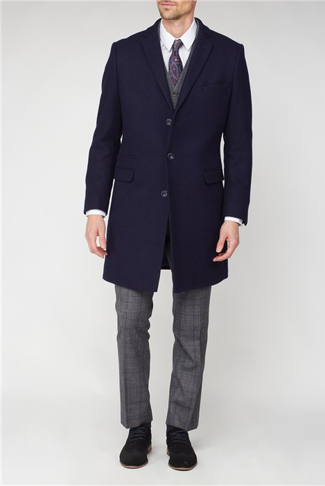 Jeff Banks Navy Overcoat