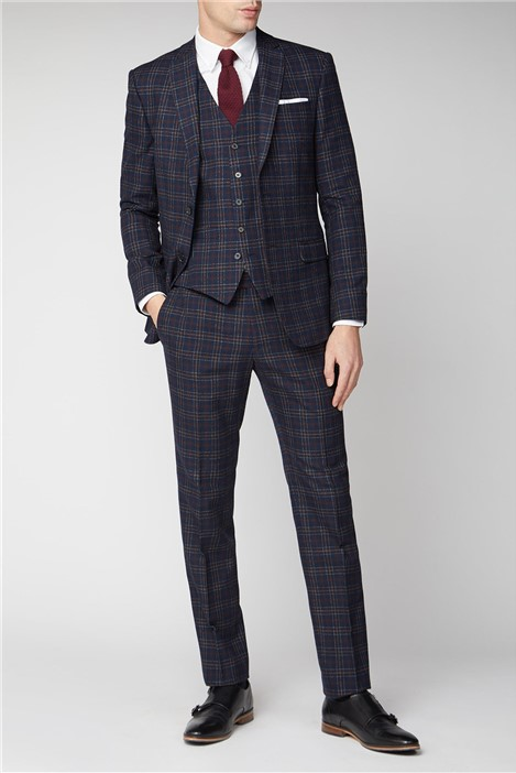 Limehaus Navy Burgundy Bold Check Slim Fit Suit Jacket