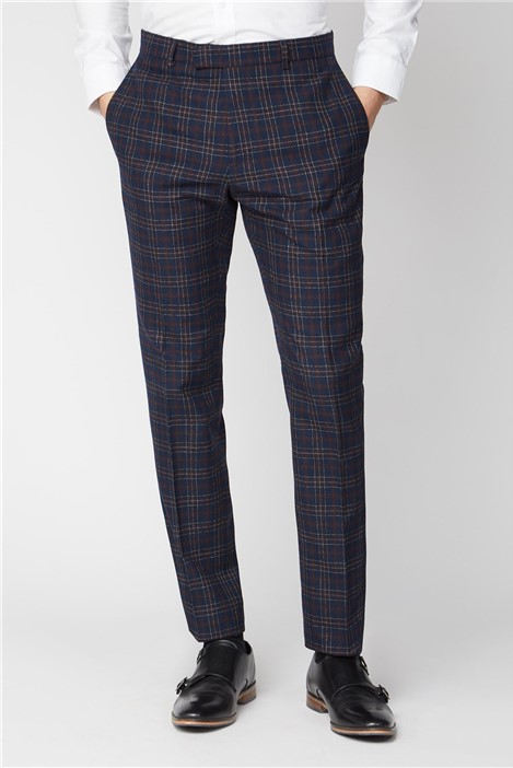 Limehaus Navy Burgundy Bold Check Slim Fit Suit Trousers