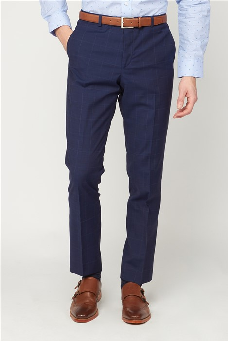 Jeff Banks Studio Blue Check Performance Tailored Fit Suit Trouser