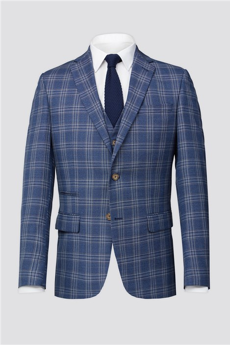 Racing Green Bright Blue Rust Check Suit