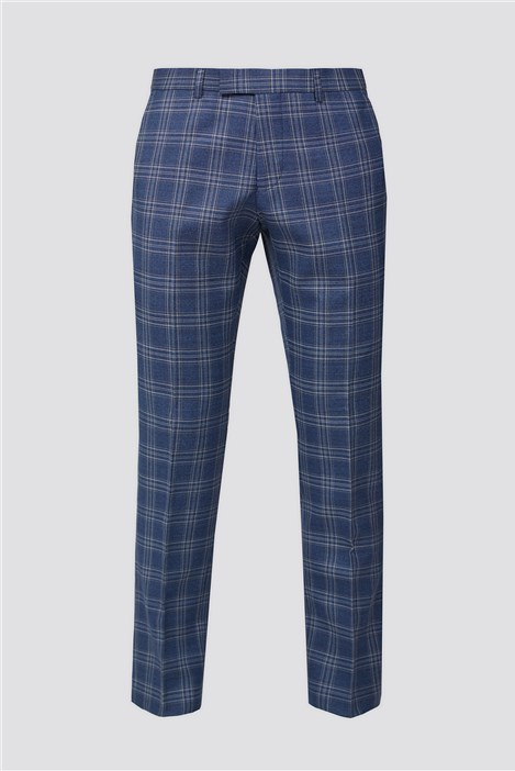 Racing Green Bright Blue Rust Check Trousers
