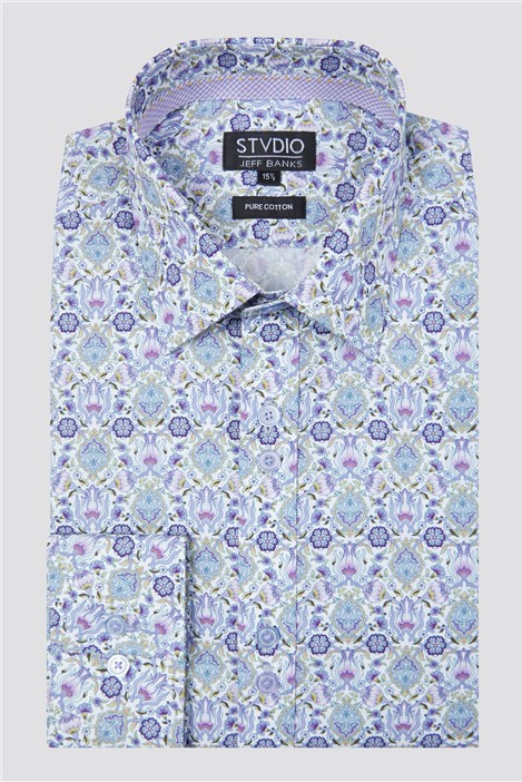 Stvdio Jeff Banks Lilac Ornate Baroque Print Shirt