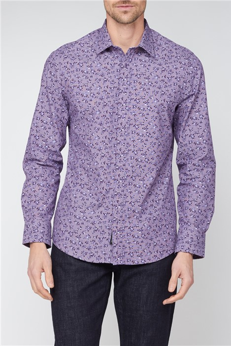 Jeff Banks Stvdio Purple Floral Checked Shirt