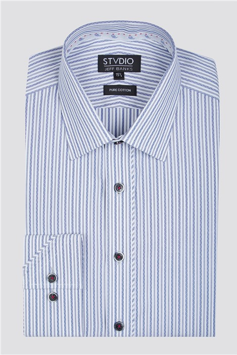 Stvdio by Jeff Banks Navy Zig Zag Stripe Shirt