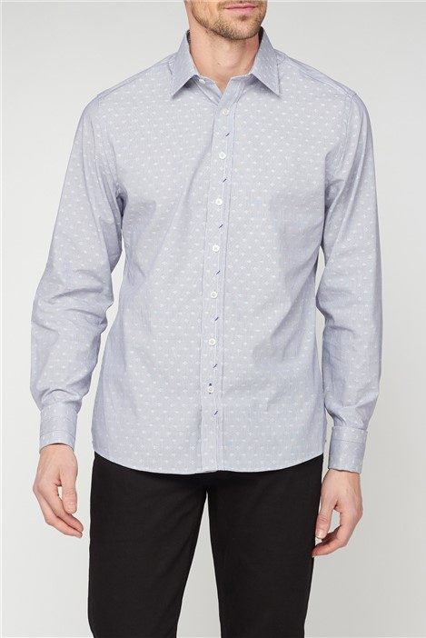 Stvdio by Jeff Banks Grey Dobby Stripe Shirt