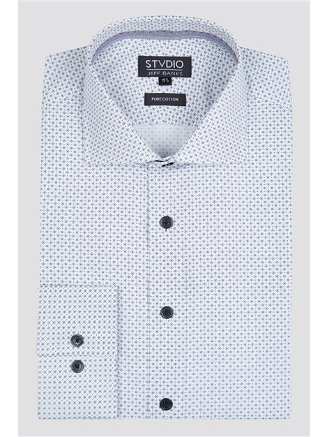 Stvdio by Jeff Banks White Micro Sun Print Shirt