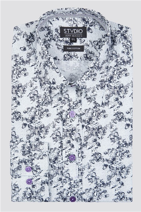 Stvdio by Jeff Banks Grey Sketch Roses Print Shirt