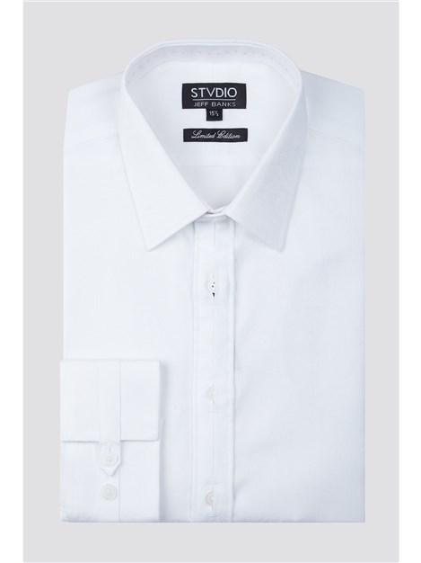Jeff Banks Stvdio Slim Fit White Paisley Jacquard Shirt