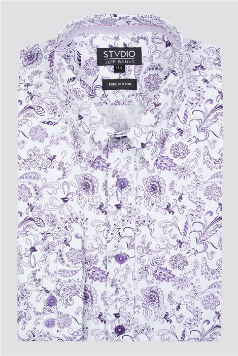 Stvdio by Jeff Banks Lilac Paisley Print Shirt