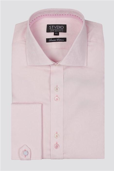 Jeff Banks Stvdio Light Pink Floral Jacquard Shirt