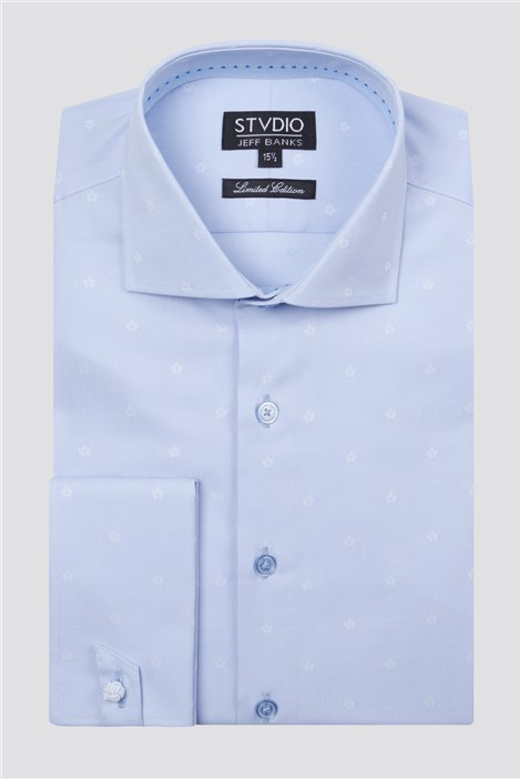 Stvdio Light Blue Small Floral Jacquard Shirt
