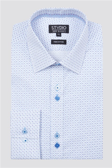 Stvdio Blue Micro Triangle Print Shirt