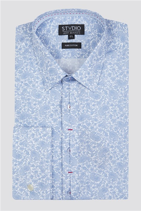 Stvdio Light Blue Line Paisley Shirt