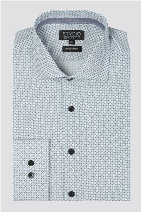 Jeff Banks Stvdio White Micro Sun Print Shirt