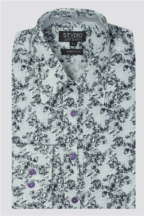 Jeff Banks Stvdio Grey Sketch Roses Print Shirt