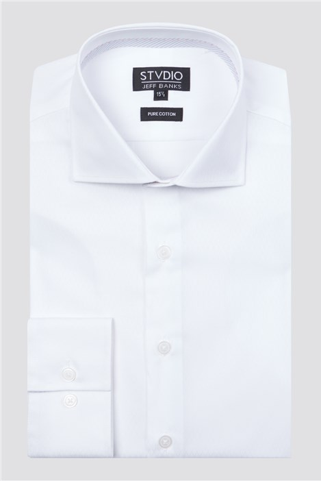 Stvdio White Diamond Dobby Slim Fit Shirt